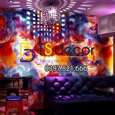 Giấy dán tường hoạt tiết mực loang độc đáo 3D336 trang trí quán Karaoke,quán Bar