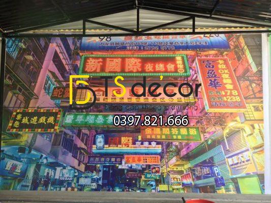 Tranh dán tường vải lụa 3D phong cách đường phố Hong Kong